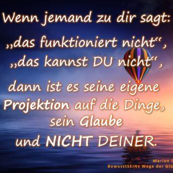 """Wenn jemand zu dir sagt: """"das funktioniert nicht"""", """"das kannst DU nicht"""", dann ist es seine eigene Projektion auf die Dinge, sein Glaube und NICHT DEINER. - BewusstSEINs Wege der Glücklichkeit Marion Dammberg"""