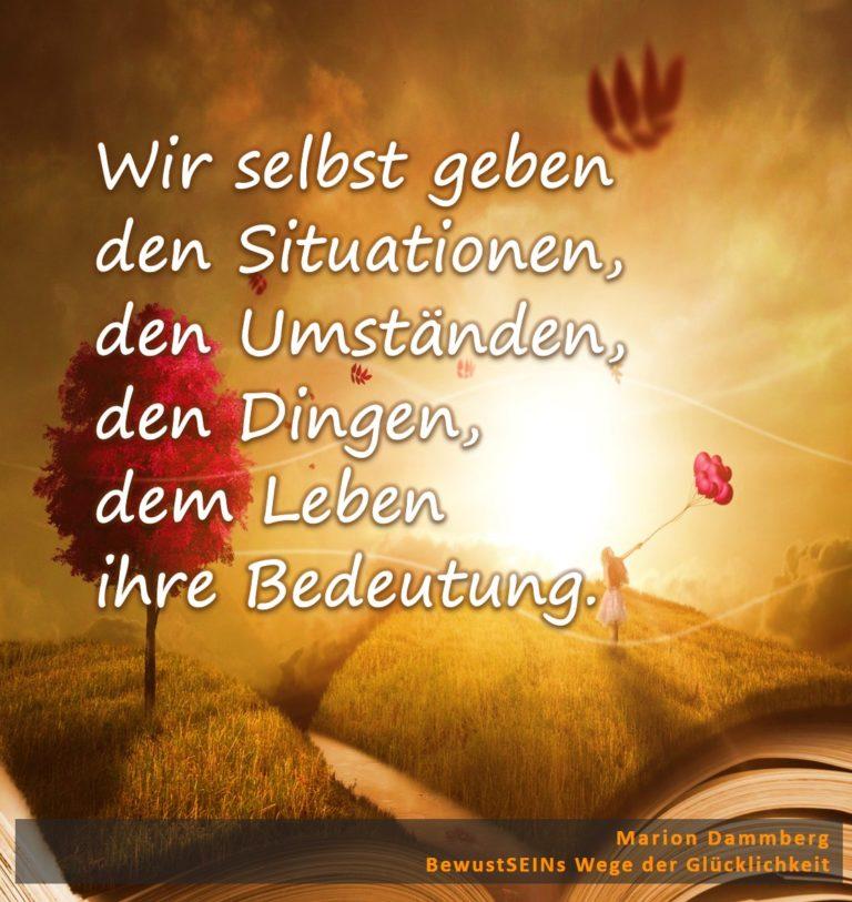 Wir selbst geben den Situationen, den Umständen, den Dingen, dem Leben ihre Bedeutung - BewusstSEINs Wege der Glücklichkeit, Marion Dammberg, BewusstSEINs Life Coach