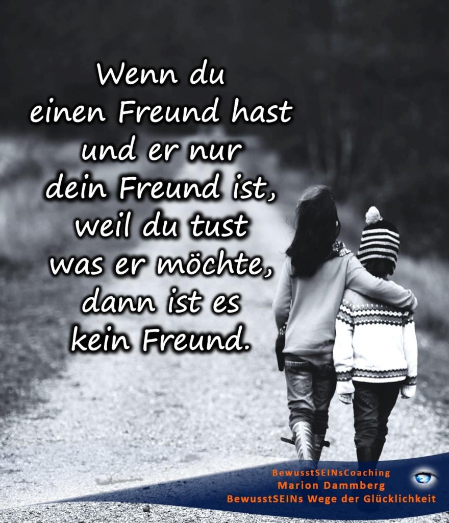 Wenn du einen Freund hast und er nur dein Freund ist, weil du tust was er möchte, dann ist es kein Freund. - BewusstSEINs Wege der Glücklichkeit, Marion Dammberg, BewusstSEINsCoaching Life Coach