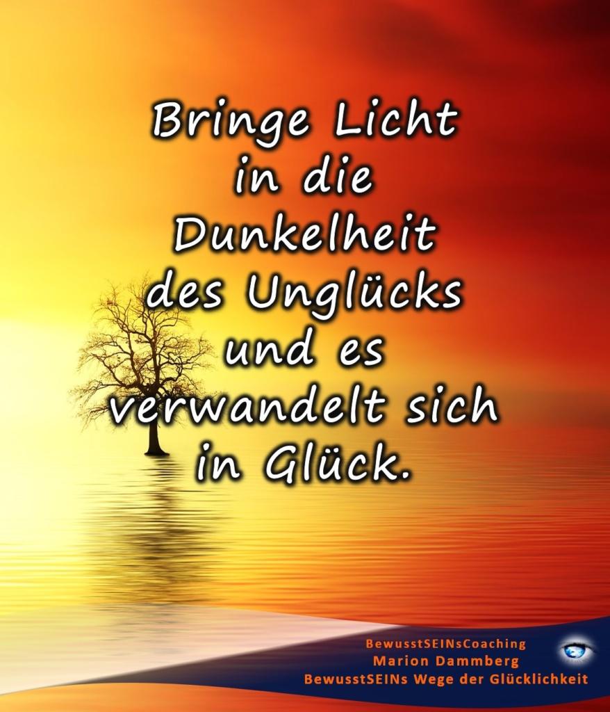 Bringe Licht in die Dunkelheit des Unglücks und es verwandelt sich in Glück. - - BewusstSEINs Wege der Glücklichkeit, Marion Dammberg, BewusstSEINs Life Coach