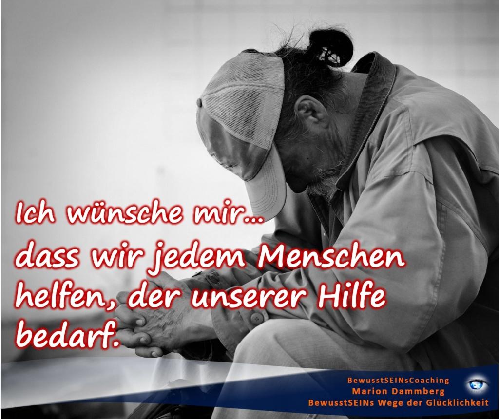 Mein Wunschzettel, dass wir jedem Menschen helfen, der unserer Hilfe bedarf. - BewusstSEINs Wege der Glücklichkeit, Marion Dammberg, BewusstSEINs-Coaching